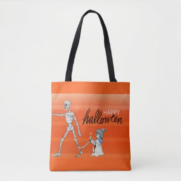 Halloween Themed Mummy and Witch tote