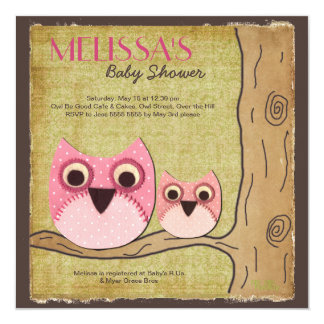 "Mummy & Baby Owl Baby Shower Square Invitation 5.25"" Square Invitation Card"
