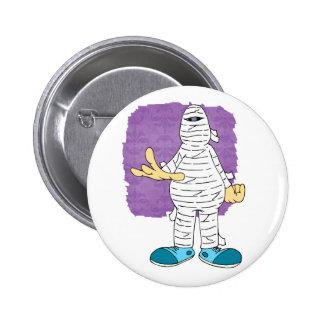 mummy cartoon hands out graphic halloween button