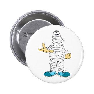 mummy cartoon hands out graphic halloween pinback button