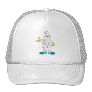 mummy cartoon hands out graphic halloween mesh hat