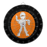 Mummy cartoon orange behind dartboard