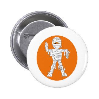 Mummy cartoon orange behind.png pinback button