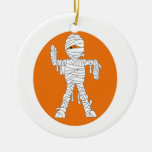 Mummy cartoon orange behind.png Double-Sided ceramic round christmas ornament