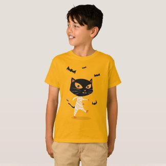 Mummy Cat Cute Cartoon Halloween Kids T-Shirt