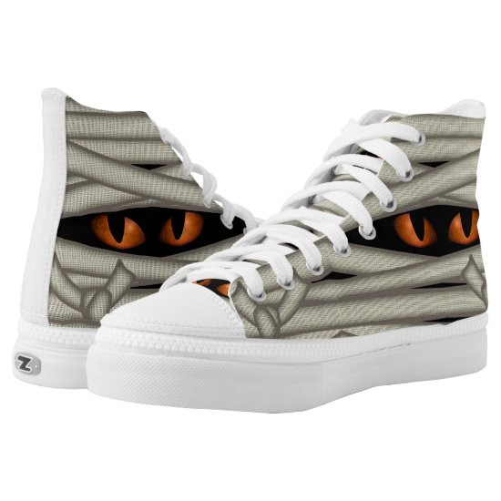 Mummy Eyes Halloween Orange ID685 High-Top Sneakers