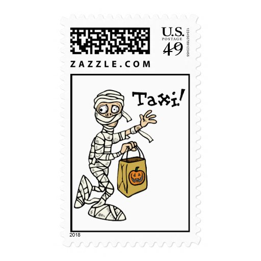 Mummy Hailing Taxi Stamp