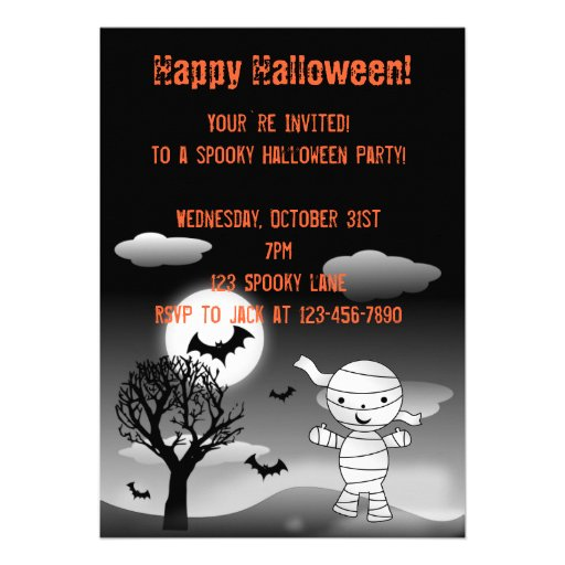 Mummy Halloween invitation