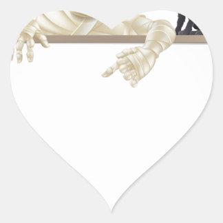 Mummy Halloween Sign Heart Sticker