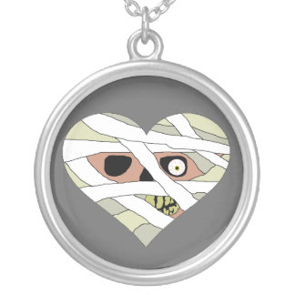 Mummy Heart Face Round Pendant Necklace