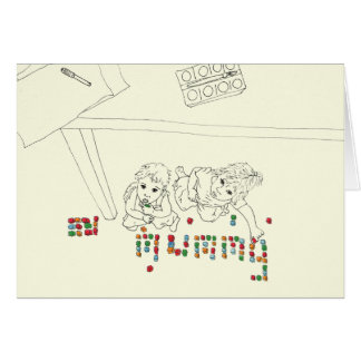 Mummy in bricks Funny Mother's day art card