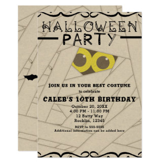 Mummy Kraft Paper Look Halloween Costume Party Card