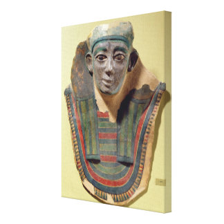 Mummy mask, from Mirgissa (stuccoed and painted pl Stretched Canvas Print