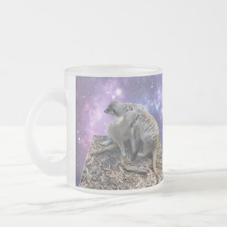 Mummy Meerkat And Her Pup, Frosted Glass Coffee Mug