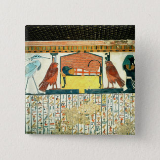 Mummy on a funeral bed with various divinities button