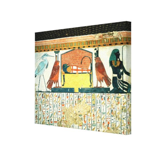 Mummy on a funeral bed with various divinities gallery wrapped canvas