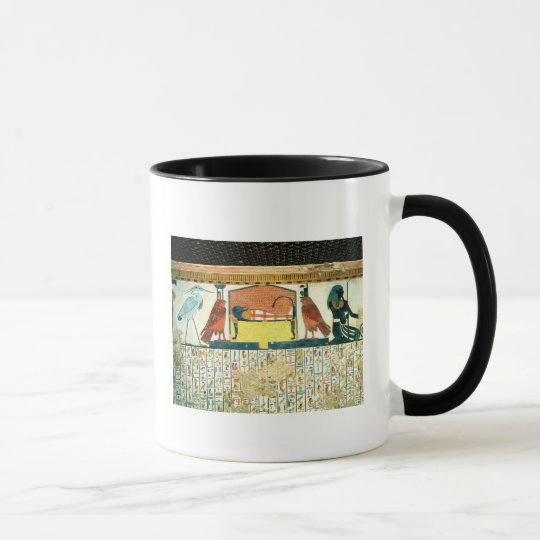 Mummy on a funeral bed with various divinities mug
