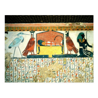 Mummy on a funeral bed with various divinities postcard
