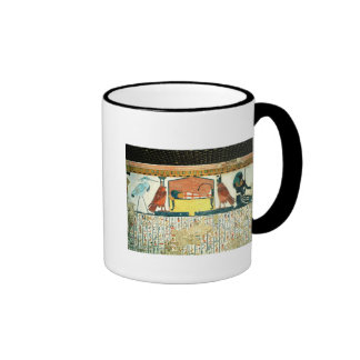 Mummy on a funeral bed with various divinities ringer coffee mug