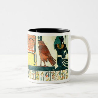 Mummy on a funeral bed with various divinities Two-Tone coffee mug