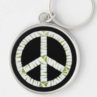 Mummy Peace Sign Round Keychain
