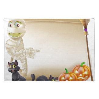 Mummy Scroll Halloween Banner Place Mat