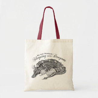 Mummy sleeping with a Dragon Tote Bag
