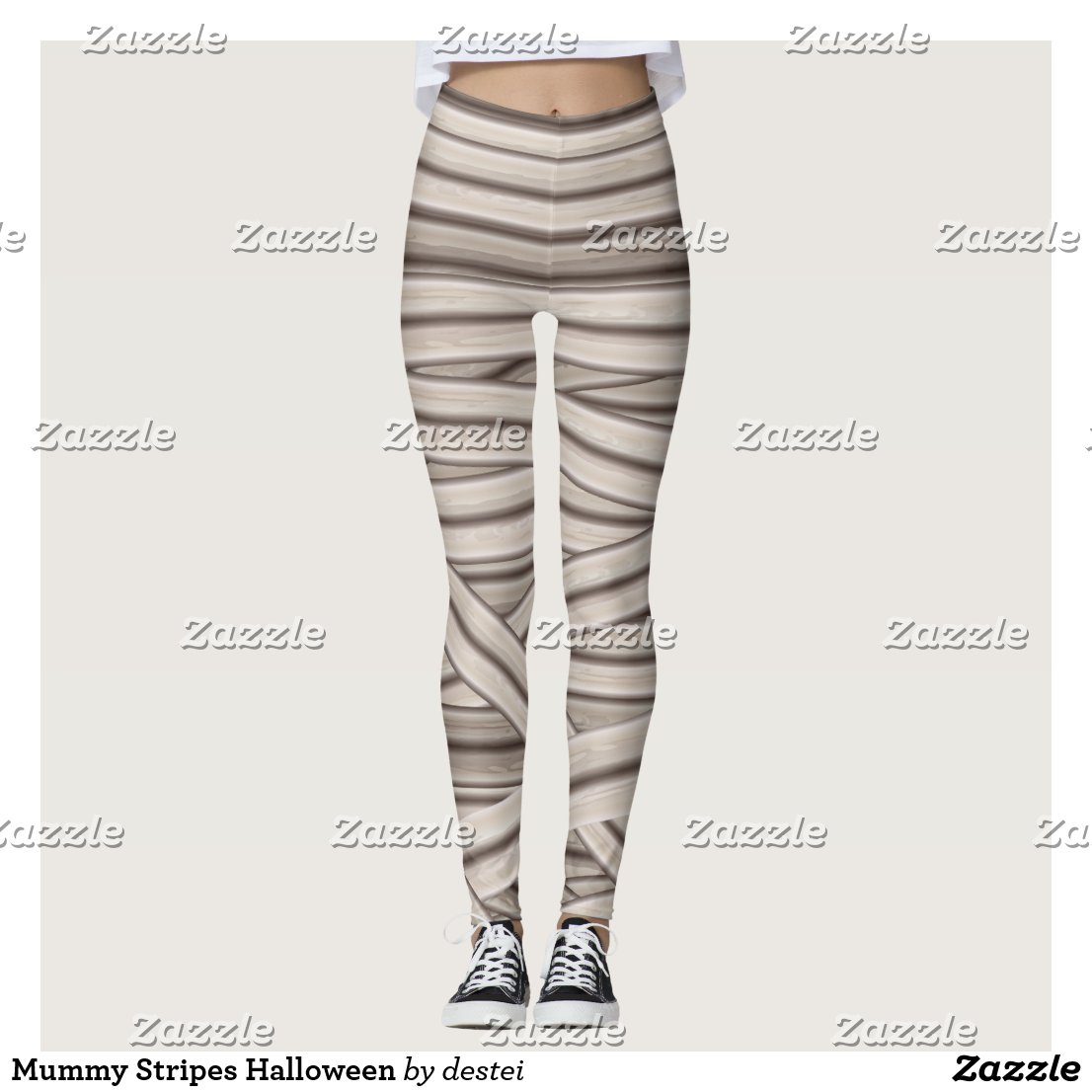 Mummy Stripes Halloween Leggings