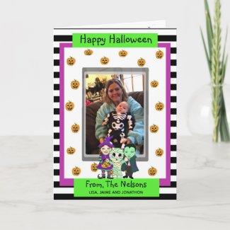 Mummy, Witch and Vampire Photo Halloween Card
