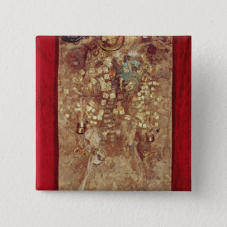 Mummy with gold crown and grave goods button
