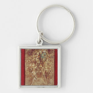 Mummy with gold crown and grave goods Silver-Colored square keychain