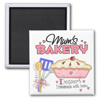 Mums Bakery Gift 2 Inch Square Magnet