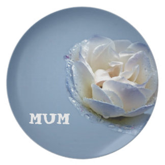Mums Blue And White Rose Party Plate