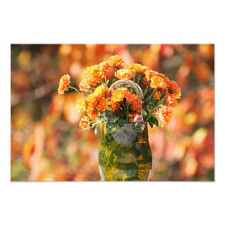 Mums in a Glass Vase Photo Print