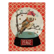 Mums Owl Snowglobe Postcard