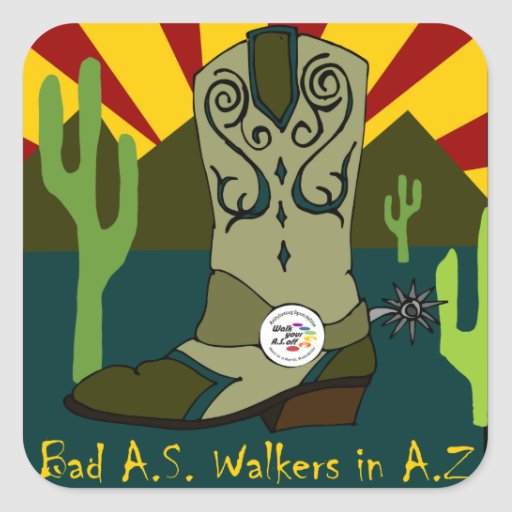 Mún A.S. Walkers In A.Z. Pegatina Cuadrada