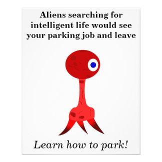 """Mún aviador del chiste del estacionamiento folleto 4.5"""" x 5.6"""""""