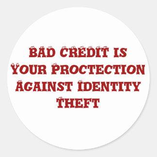 Mún crédito pegatina redonda