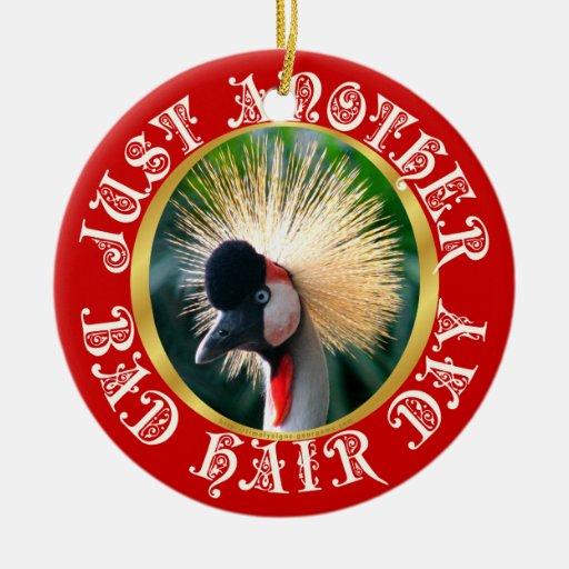 Mún día del pelo adorno navideño redondo de cerámica