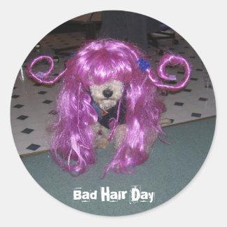 Mún día del pelo pegatina redonda