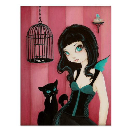 Mún gatito - postal de hadas