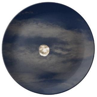 Mún levantamiento de la luna platos de cerámica
