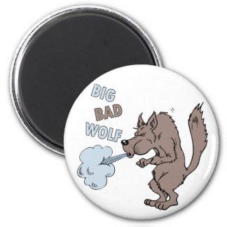 Mún lobo grande imán redondo 5 cm