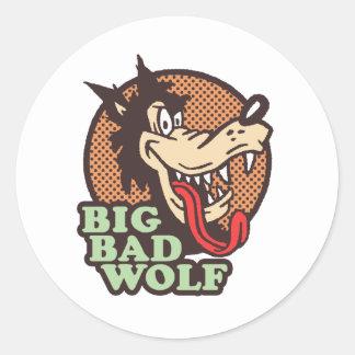 Mún lobo grande etiquetas redondas