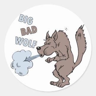 Mún lobo grande pegatina redonda