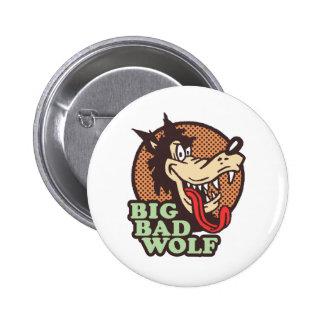 Mún lobo grande pin redondo de 2 pulgadas