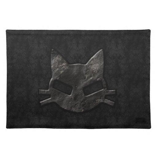 Mún negro Placemat gótico del gatito Manteles Individuales