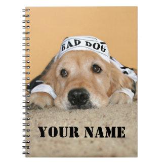 Mún preso del perro del golden retriever spiral notebook