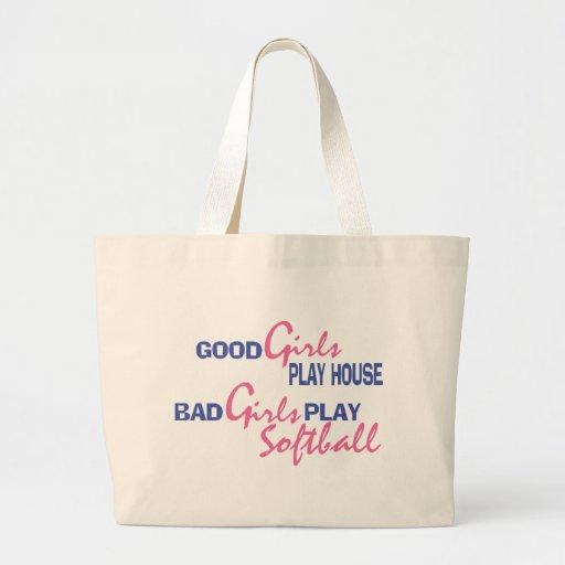 Mún softball del juego de los chicas bolsa tela grande