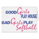 Mún softball del juego de los chicas felicitación
